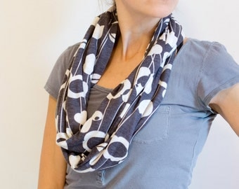 Mod Floral Silhouettes on Gray Infinity Scarf
