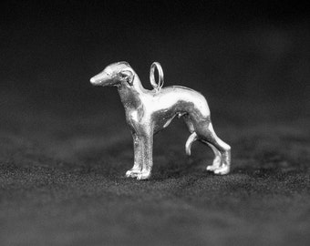 Sterling Silver Whippet Charm, Silver Whippet Pendant