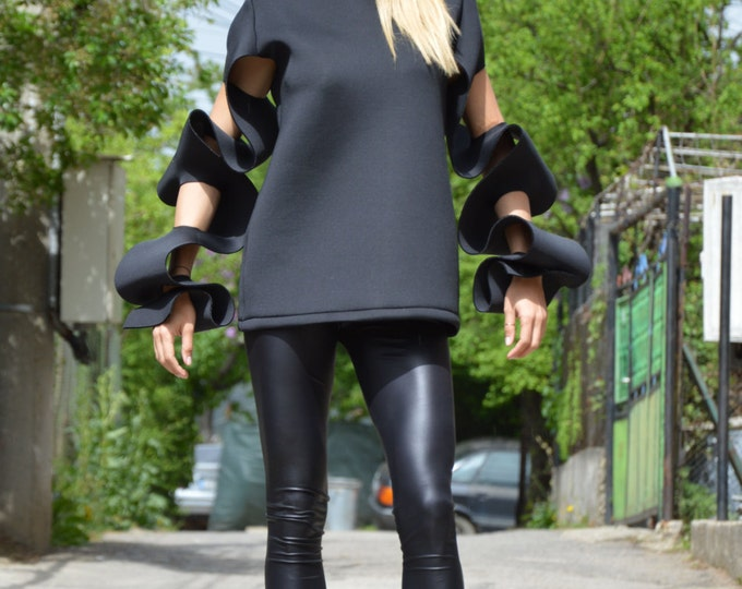 Extravagant Long Sleeves, Maxi Neoprene Black Tunic Top, Assimetrical Tunic, Oversize Blouse By Ssdfashion