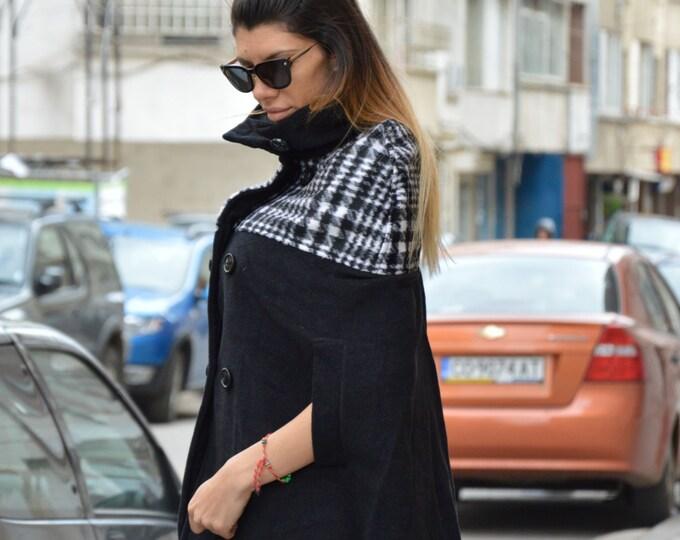 Women Poncho, Cashmere Wool Jacket, Oversized Coat, Plus Size Clothing, Sweater Jacket, Nude Trench Coat by SSDfashion