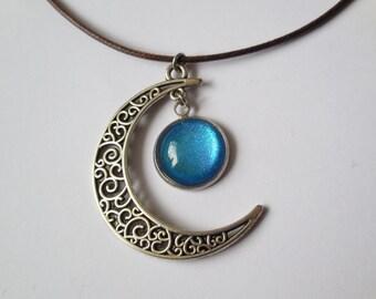 Handmade crescent moon necklace ocean stars