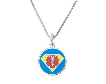 "Dr. Super Jr. 316L 1"" Medical Alert ID Pendant Neckalce w/ Snake Chain-Free Engraving,  Wallet Card, Apps-5781"