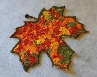 Maple Leaf Textile Collage Embroidery design / Machine embroidery / Textile art / Table decor