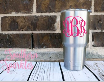 Monogram 4 inch Cup Decal ~ 4 inch decal ~ Laptop Decal ~ Personalized Decal ~ Tumbler Decal ~ Monogrammed Cup Decal