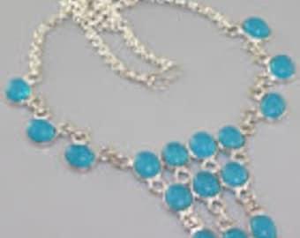 "Chalcedony  necklace 16.4"""