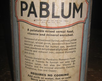 Early Cardboard Pablum Cylinder, Box, Container
