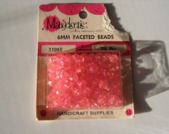 6mm Pink Faceted Beads