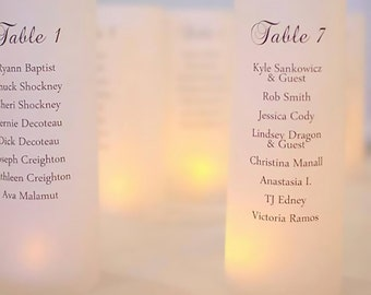 Luminary Seating Plan - Wedding Candle Luminary - Script Table Number - Table Number Ideas - Table Numbers - Wedding Luminary - Wedding Sign