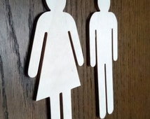 Birch Plywood WC Sign for Men and Woman Restroom 15cm high 4mm thick , Bathroom sign,  Environmental Friendly materials