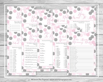 Pink and Silver Baby Shower Games - 10 Printable Baby Shower Games - Pink and Silver Glitter Baby Shower - Baby Shower Games Package - SP123
