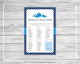 Whale Baby Shower What's In Your Purse Game - Printable Baby Shower What's In Your Purse Game - Blue Whale Baby Shower - Purse Game - SP127