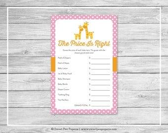 Giraffe Baby Shower Price Is Right Game - Printable Baby Shower Price Is Right Game - Pink Giraffe Baby Shower - Price Is Right - SP129