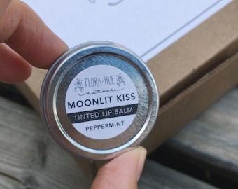 Moonlit Kiss, Tinted Lip Balm. Natural, Vegan Lip Moisturizer. Peppermint Lip Balm. 0.5oz