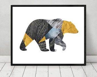 Bear, Animal print , home decor, wall art, abstract, modern design, nordic design,