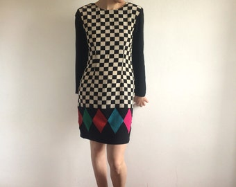 Amazing Harlequin Silk Dress Pat Argenti