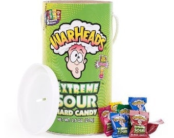 WARHEADS Extreme Sour Hard Candy RARE Mega Paint Can Coin Savings BANK (Piggy Bank) 9.5oz