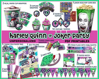Harley Queen birthday party, Suicide Squad party, Harley Quinn party printables, Joker party, invitation, quotes, labels, party supplies