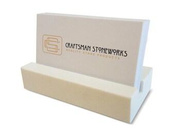 Business Card Holder - White Quartz - Office Desk Home, Recycled Quartz