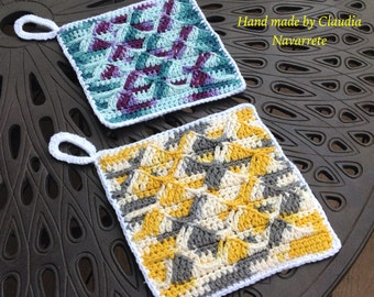 Set of Double thick crochet potholder