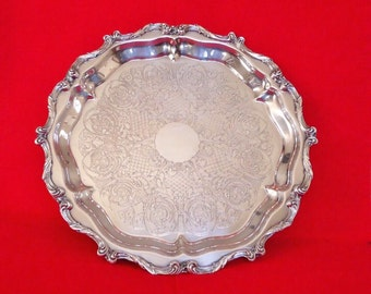 "LA REINE by WALLACE 16"" Silver Footed Tray with Scroll Engraving Vintage"