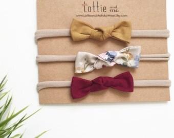 floral and solids    Nylon Bow Headbands   baby bow   baby headband nylon stretchy one size fits