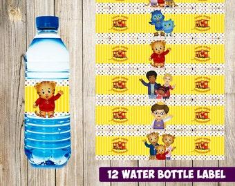 12 Daniel tiger Water Bottle Label instant download, Printable Daniel tiger Water Bottle Label, Daniel tiger Water Label