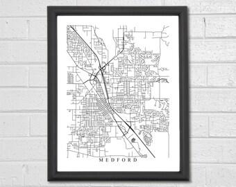 Medford Map Art - Map Print - Black and White Print - Oregon - Hometown Map - Personalized - Custom - Travel Gift - Housewarming Engagement