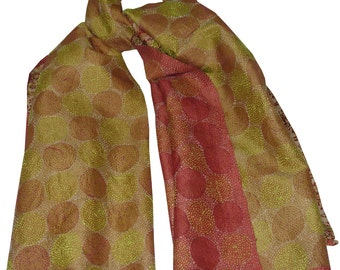 Vintage Long Scarf Reversible Kantha Dupatta Pure Silk Stole Fabric