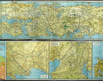 1940's Vintage Map of Japan for Sightseers - Long Map - 107cm
