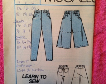 McCalls #2400 Teen Girls Size 7-8-10 Jeans, Shorts in two lengths
