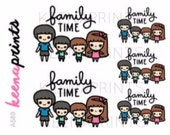 A589 | FAMILY TIME Keenachi Repositionable Stickers Perfect for Erin Condren Life Planner, Filofax, Plum Paper & other planner