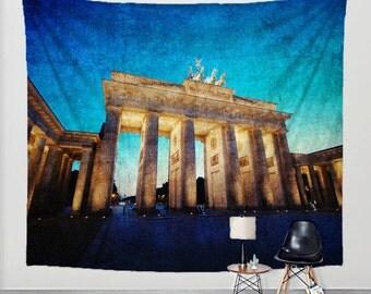 Wall Tapestry Brandenburg Gate Berlin Photography Fabric Art Print Wall Hanging - Branenburger Tor, Germany, Europe, Landmark