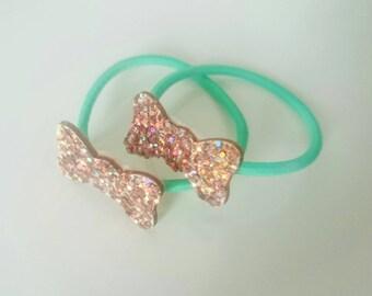 Glitter bow hair tie