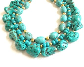 Turquoise and Gold Triple Strand Necklace