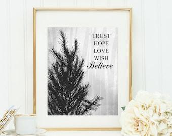 typography art, believe art, wall art print, printable typography, black and white art, wall art tree, wall art believe, art black, typo art