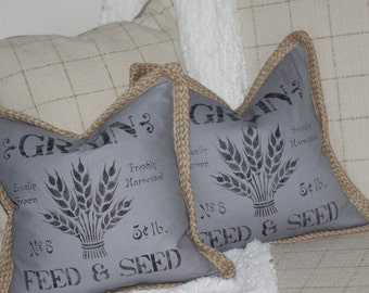 Pair of Hand Stamped Grain Feed & Seed Rustic Country French Accent Pillows Toss Pillows