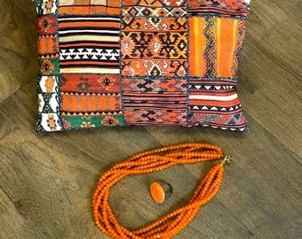 Clutch Bag handbag orange, brown wax african print with wrist strap or shoulder strap, ethnic print with brown leatherette fabric