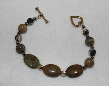 semi-Precious stone south african natural stone, round jasper stone,metallic bead spacer,mood enhancing and relaxing nature
