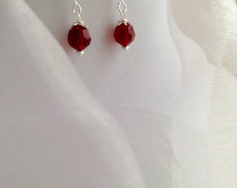 Sweet Siam Red Crystal and Silver Dangle Earrings