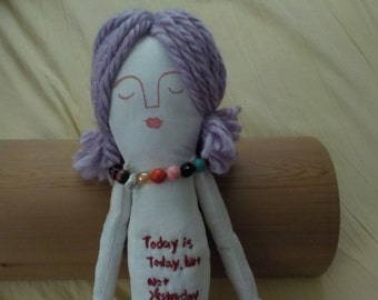 perfect looks imperfect handmade doll, one of a kind, positive words doll,