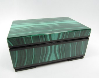 Russian Carved Mineral Malachite Jewelry Box Storage 3.5 x 2.2 in