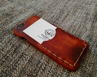iPhone 6 6s, iphone 7 leather case with card slot, iPhone 6s wallet 'Old DarkBrown'