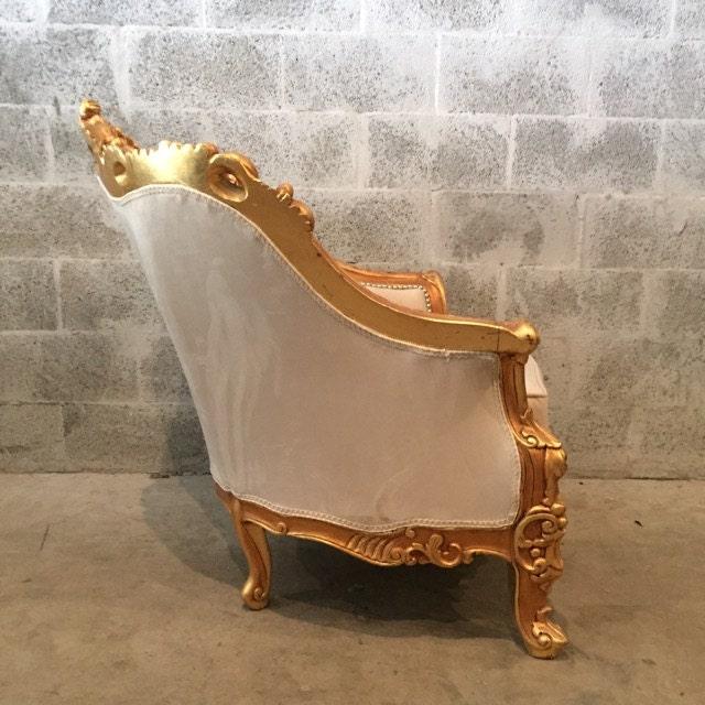 Ledersofa creme  Baroque Settee Bergere Beige Creme Suede Furniture Italian Antique ...