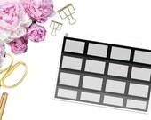 Monochromatic Square Boxes -- Matte Planner Stickers