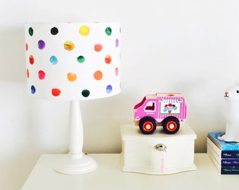 Rainbow Polka Dot Drum Lampshade for Children's Interior Decor