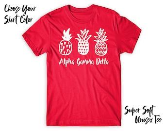 AGD Alpha Gamma Delta Pineapple Trio Choose Your TShirt Color!