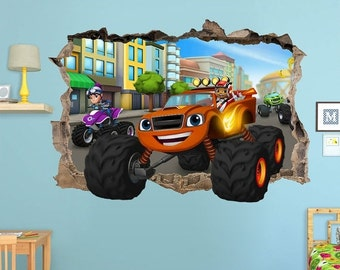 ON SALE Blaze and the Monster Machines 3d Wall Sticker Smashed Bedroom Kids decor Vinyl Removable Art DECAL Removable Mural Tv Show Game boy