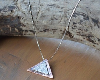 Etched Silver and Copper Pendant