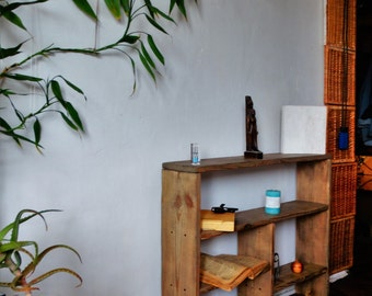 """Small bookcase,low bookcase,reclaimed bookcase,narrow bookcase,wooden bookcase,solid wood bookcases,pine bookcase,""""Small assistant""""."""