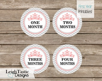Month by Month Printable Stickers, First Year Monthly Milestones, Princess Baby Shower, Tiara, Monthly Numbers, First Year, Chevron Label